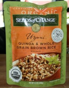 I am exited to try this! Quinoa and Whole Grain Brown Rice with Garlic. It is pre-cooked so great for a busy weeknight and each serving has a whopping 30% of the RDI for Iron!